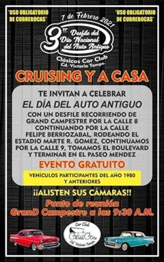 3er Desfile del Día Nacional del Auto Antiguo Clásicos Car Club Cd. Victoria