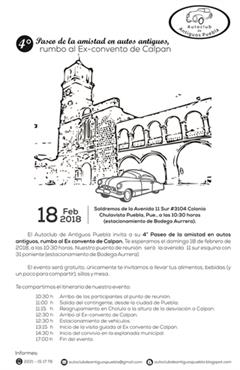 Más información de 4o Paseo de la amistad en autos antiguos, rumbo al Ex-Convento de Calpan