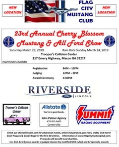 Más información de 23rd Annual Cherry Blossom Mustang & All Ford Show